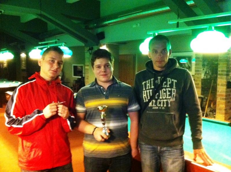druzí v turnaji Wolk Over, zleva Urban, Erös a Houdek - kulečník, billiard, ping pong Harlequin Praha 10